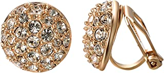 Yoursfs Circular Rose Gold Clip Earrings For Women With Round Austrian Crystals (18k Rose GP)