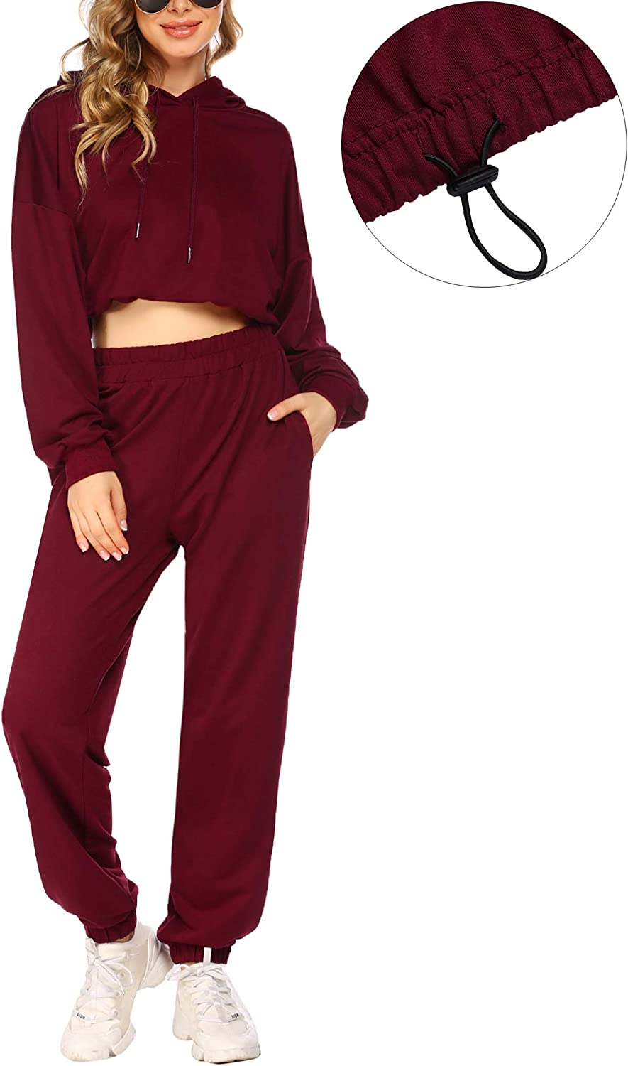 COOrun Womens Tracksuits 2 Piece Outfits Pullover Long Sleeve Hoodies Loose Jogger Sweatpants Sweatsuits S-XXL