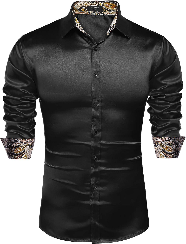 COOFANDY Mens Shiny Satin Dress Shirts Contrast Slik Button Down Shirts