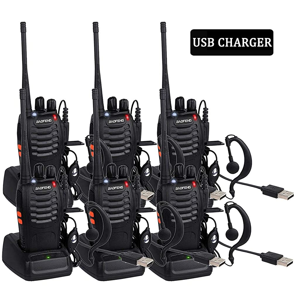 Long Range Walkie Talkies for Adults, BF-888S 2 Way Radio Rechargeable with Original Earpieces(6 Pack)