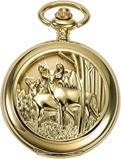 ManChDa Pocket Watch for Fathers Day Birthday, Vintage Mechanical Double Cover Watch - Anniversary for Him/Men/Husband   Reindeer (4. Gold Deer)