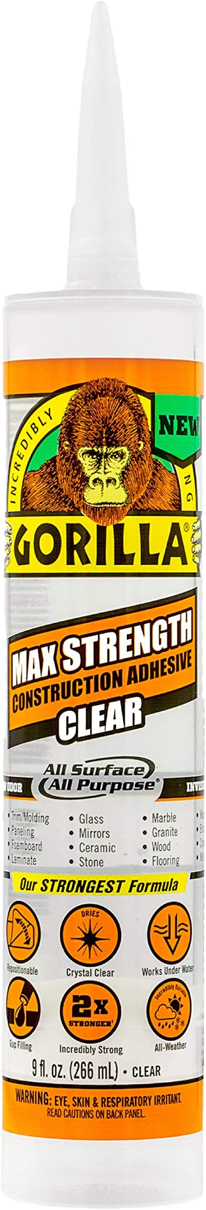 Gorilla Max Strength Clear Construction Adhesive, 9 ounce Cartridge, (Pack of 1) - 8212302