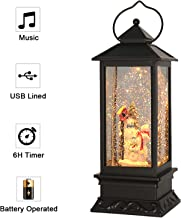 Eldnacele Christmas Snow Globe Lantern with Music, Battery Operated Lighted Swirling Glitter Water Lantern with Timer for Christmas Home Decoration, Snowman