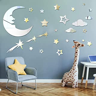 82 Pieces Moon and Stars Mirror Decals Removable 3D Acrylic Mirror Stickers Moon and Stars Wall Stickers Home Decor for Li...