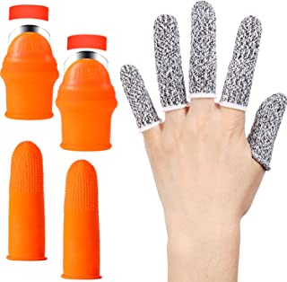 Mudder 2 Pieces Silicone Thumb Knife Gardening Finger Knife with 2 Pieces Silicone Forefinger Covers and 5 Pieces Finger P...