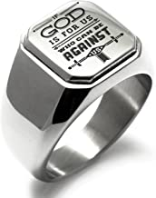 Stainless Steel If God is for Us Romans 8:31 Square Flat Top Biker Style Polished Ring
