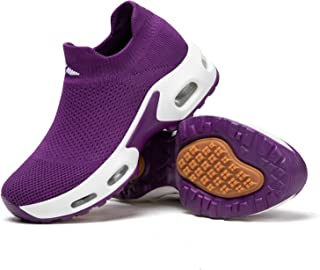 Women's Walking Shoes Sock Sneakers Mesh Slip on Air Cushion Fashion Sneakers Comfortable Nurse Work Platform Loafers Shoes