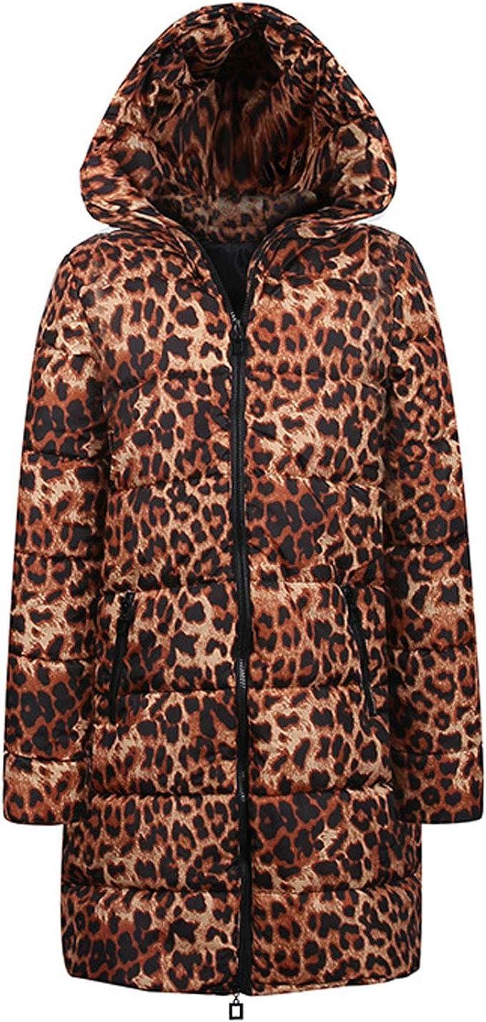 Lentta Womens Faux Fur Trim Hoodie Retro Leopard Puffer Quilted Winter Coats Parkas