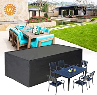 KINGSO Patio Furniture Covers, Rectangular Table Watcher Patio Loveseat Sofa Cover All Weather Protective Patio with Secur...