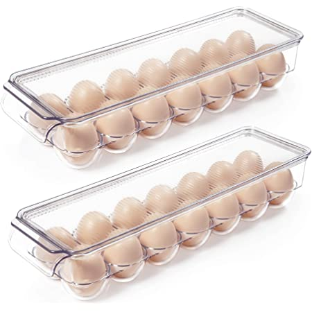 Vtopmart Egg Holder for Refrigerator 2 Pack, Plastic Egg Storage Container for Fridge, Clear Refrigerator Organizer Bins with Lids, Stackable Tray Holds 14 Eggs