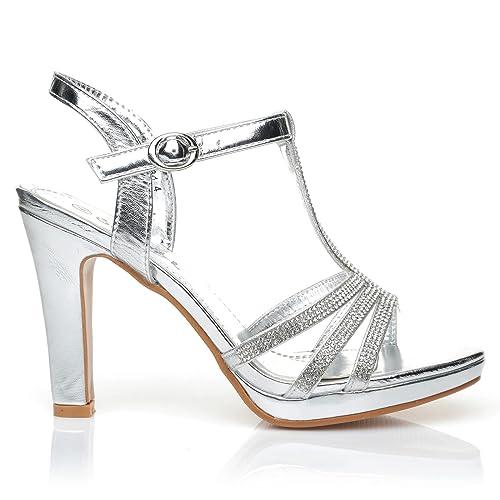 97517b6ef3c ShuWish UK Jade Silver Diamante Encrusted PU Leather High Heel Platform  T-Bar Sandals