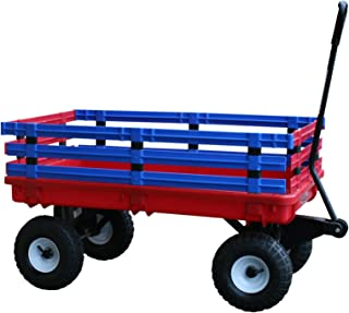 Millside Industries Trekker Wagon with Red and Blue Removable Poly Rack Set