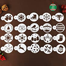 BAKHUK 20 Plastic Christmas Cookie Stencil Set, Cookie Cutter Embossing Mold, Suitable for Christmas Cookie Cake Decoration