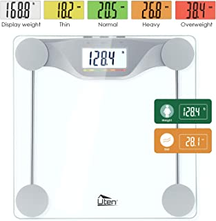 Uten Digital Body Fat Bathroom Scale with BMI High-Precision Smart Weight Scales with Large Backlight 5 Colors LCD Display, Step-On Technology, Round Corner Design and 6MM Glass 400lb Capacity