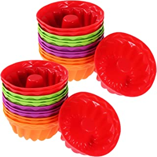 WENTS - Moldes de silicona para cupcakes (24 unidades, reutilizables, antiadherentes, para magdalenas, magdalenas, magdalenas, chocolate, pan, pasteles, helados, pudines, gelatina)