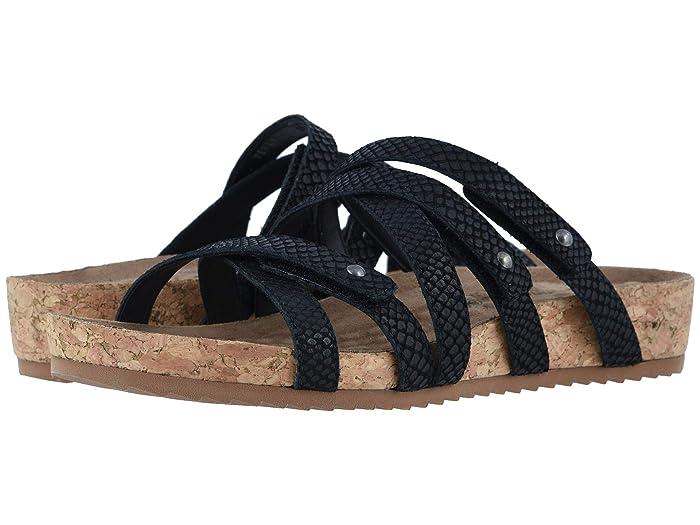 Walking Cradles  Perla (Black Matte Snake Print Leather/Cork Wrap) Womens  Shoes