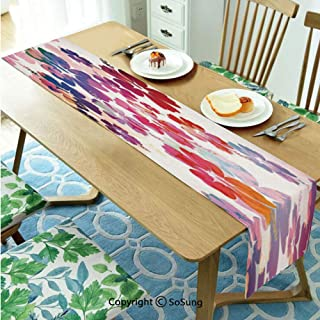 Hawaiian Table runner for Farmhouse Dining Coffee Table Decorative,Exotic Floral Print Island Theme Tropical Hawaii Flowers Pattern Art Print 16