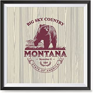 EzPosterPrints - USA State Icon Posters - Poster Printing USA Flags Icons Symbol Wall Posters- Wall Art Print for Home Office Decor - Montana - 16X16 inches