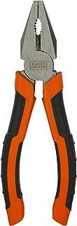 Black+Decker 160mm Steel Combination Pliers with Bimaterial Handle, Orange/Black - BDHT81587, 2 Years Warranty