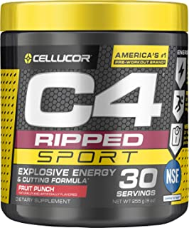 C4 Ripped Sport Pre Workout Powder Fruit Punch | NSF Certified for Sport + Sugar Free Preworkout Energy Supplement for Men...