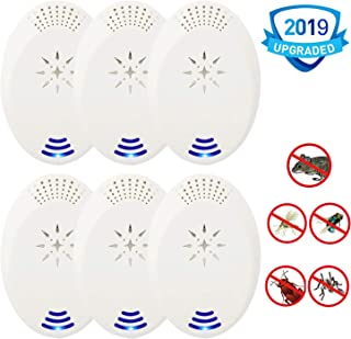 NERH Ultrasonic Pest Repeller 6 Packs Electronic Pest Repellent Plug in for Pest Control,Pest Defender Indoor Use Insects Repeller for Mosquitoes Bug Spider Ant Mice Roach
