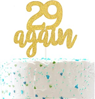29 Again Cake Topper, Happy 30th Birthday Sign,Dirty Thirty Cake Topper,Hello 30 Party Decorations (Double Sided Gold Glit...