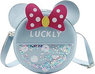 ZGMYC Little Girl's Cute Bowknot Crossbody Purse Cartoon Mouse Ears Shoulder Handbag (Blue, 5.11'' x 5.11'')