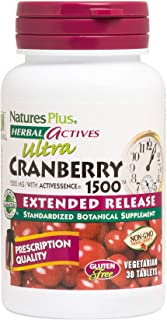 NaturesPlus Herbal Actives Ultra Cranberry, Extended Release - 1500 mg, 30 Vegetarian Tablets - Prescription Quality Suppl...