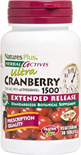 NaturesPlus Herbal Actives Ultra Cranberry, Extended Release - 1500 mg, 30 Vegetarian Tablets - Prescription Quality Supplement, Promotes Urinary Tract Health - Gluten-Free - 30 Servings