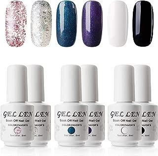 Gellen UV Gel Polish Kit Shimmers Glitters Shining 6 Colors, 8ml Nail Art Gel Manicure Set