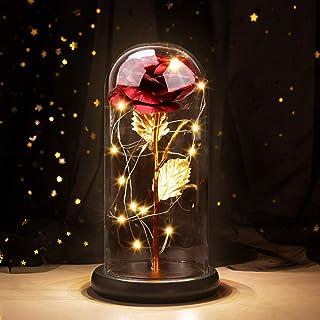 Joyhoop Rosa Eterna, Rosa Bella y Bestia, Elegante Cúpula de Cristal con Base Pino Luces LED, Regalos para Mama, Regalos D...