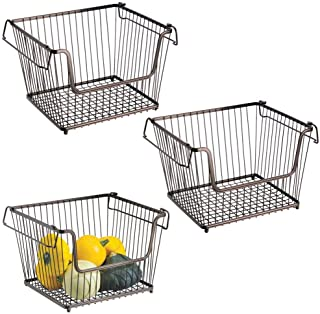 mDesign Modern Stackable Metal Storage Organizer Bin Basket with Handles, Open Front for Kitchen Cabinets, Pantry, Closets, Bedrooms, Bathrooms - Large, 3 Pack - Bronze