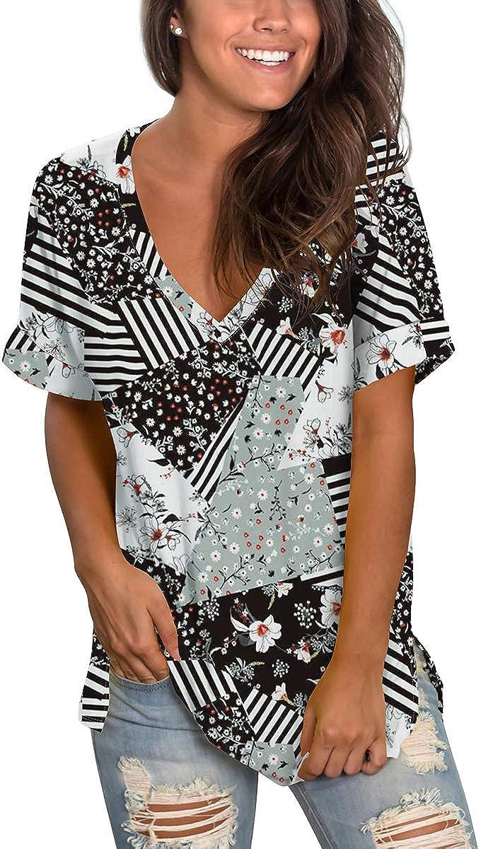SAMPEEL Women's Floral Tops Short Sleeve V Neck Tee T Shirt Printed Side Split Tunic