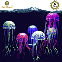 SunGrow Jellyfish Aquarium Decorations, 7x2 Inches, Silicone Fish Tank Ornaments, Colorful Decor Glows in Blacklight, Adds Beauty to Freshwater and Saltwater Tanks and Terrariums, 6 Pieces