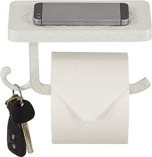 Neater Nest Reversible Toilet Paper Holder with Phone Shelf, Decor Style (White)