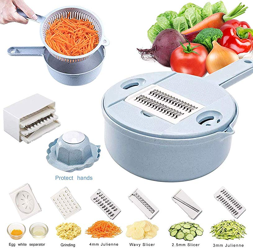 Stainless Steel Hand Held Grater Crusher Multi Function Round Vegetable Chopper With Drain Basket Egg Separator Kitchen Utensil Kit Blue