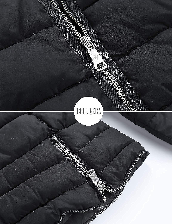 Geschallino Damen Steppjacke, 2 Seitenschlitze mit Reißverschluss, Puffermantel/Jacke mit Baumwollfüllung, Wasserabweisend, Herbst- und Wintermantel Schwarz