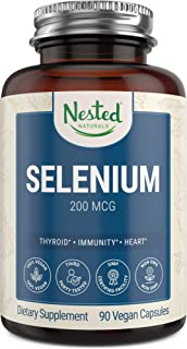 Selenium 200mcg for Thyroid, Prostate and Heart Health | Vegan, Pure & Yeast Free Selenomethionine | Immune System Functio...