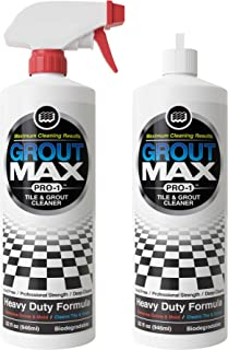 MAXIMUM CLEANING RESULTS. GROUT MAX PRO-1 TILE & GROUT CLEANER (2-pack / 64 oz) Made To Clean Grout Fast, Acid-Free Tile Cleaner, Biodegradable, Brightens Tile & Grout, Removes Years of Dirt Build-Up