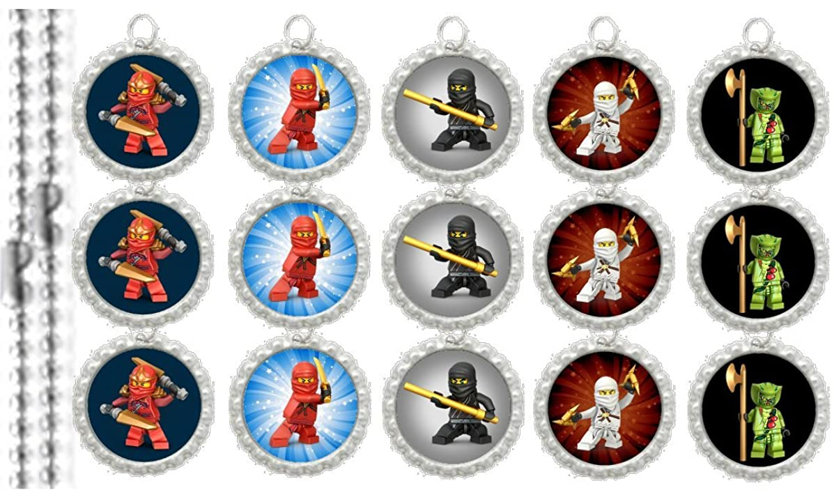 15 Special Assorted Ninjago SILVER Bottle Cap Pendant Necklaces Set 2