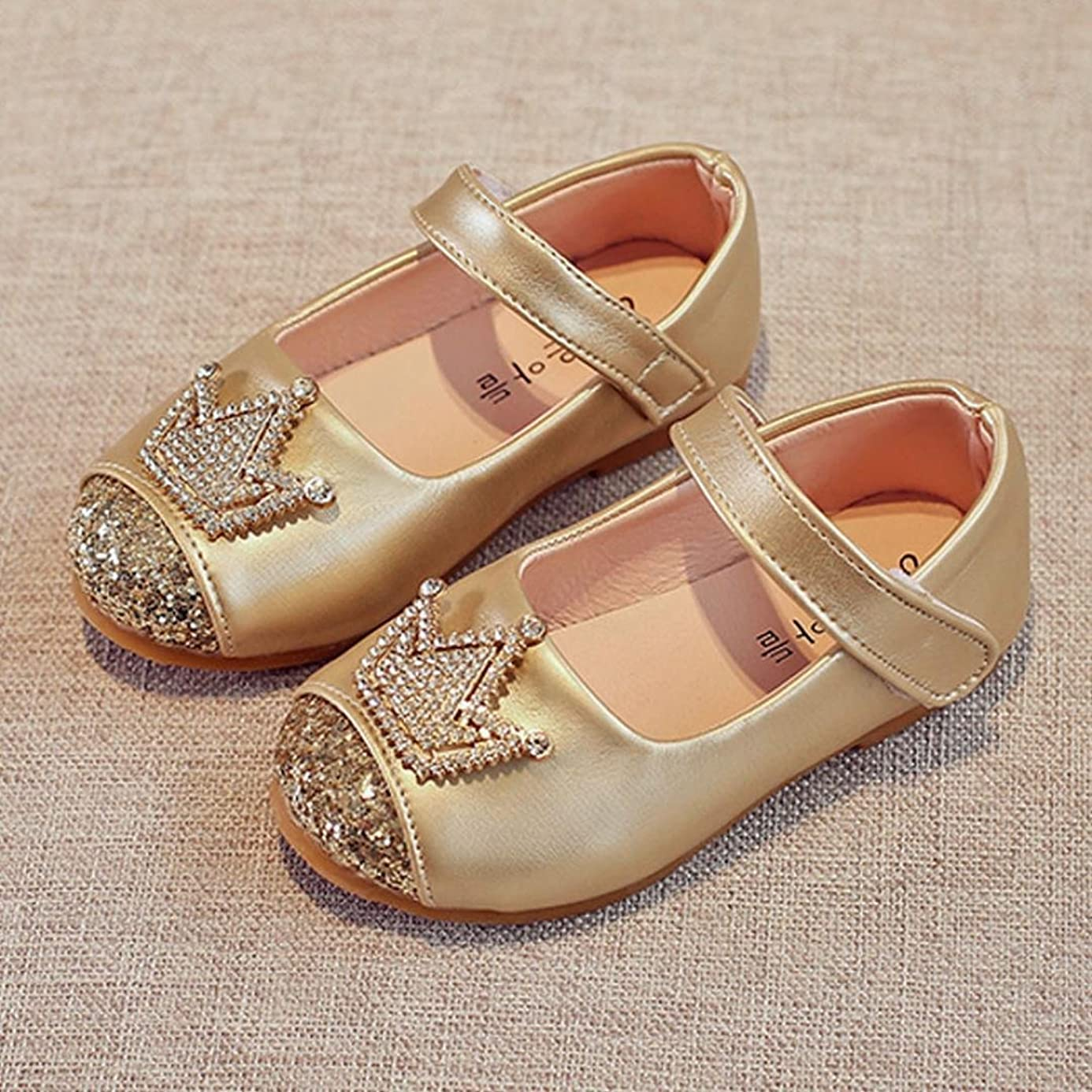 WensLTD Princess Girls' Infant Shiny Crown Flat Shoes Casual Mary Jane