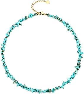 Natural Irregular Turquoise Chip Necklace Fashion Turquoise Beaded Choker Handmade Adjustable Jewelry for Women Girls Turq...