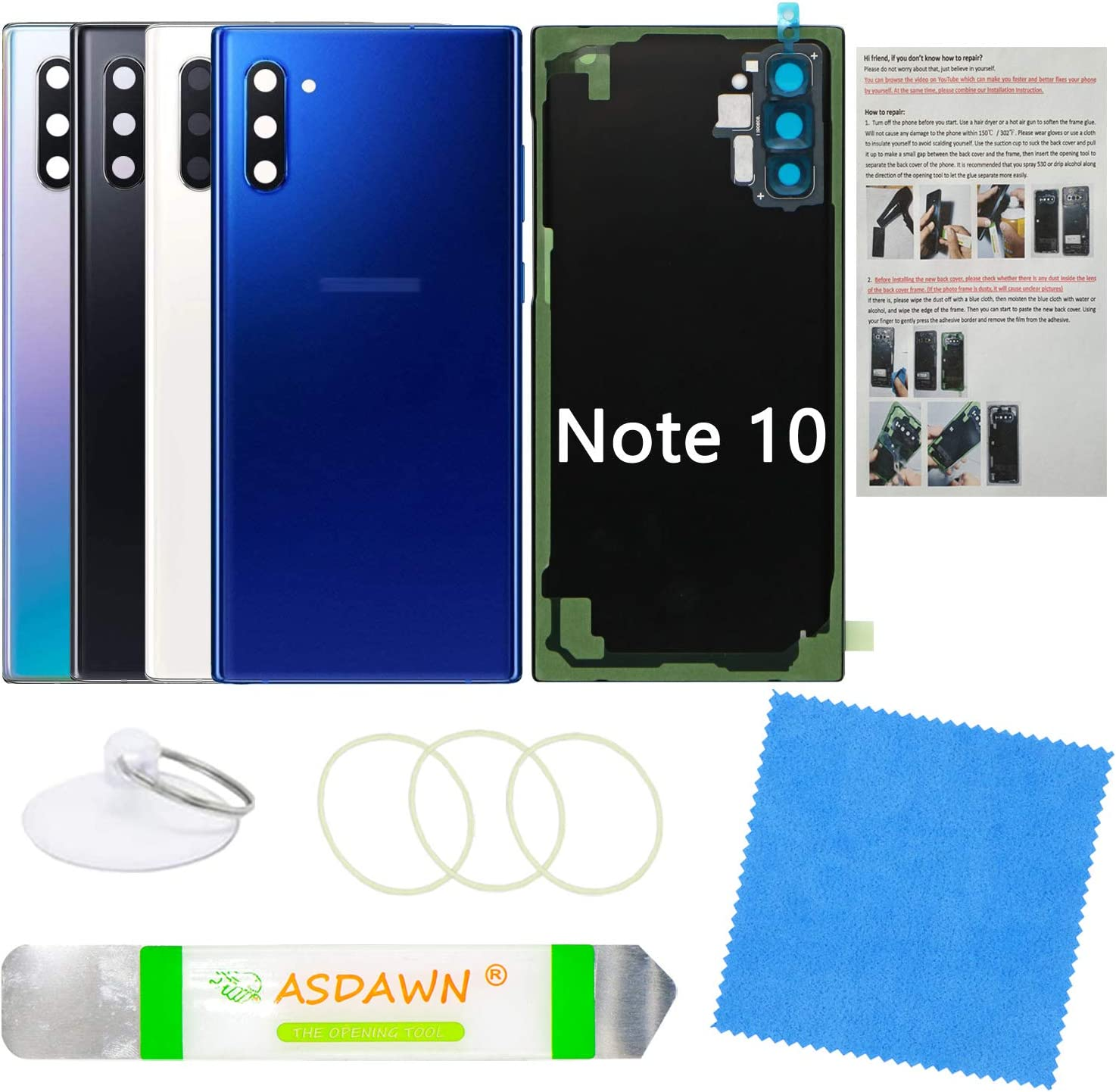 Galaxy Note 10 Replacement Back Glass Panel Case with Installation Manual + Pre-Installed Camera Lens + All The Adhesive + Repair Tool Kit for Samsung Galaxy Note 10 SM-N970 All Carriers (Aura Blue)