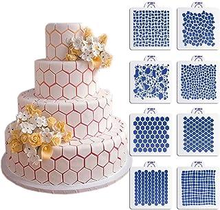 ART Kitchenware New 8pcs/set Wedding Cake Decorating Stencil Honeycomb Grain,Stone Grain Plastic Template Design Fondant Cake Cookies Stencil ST-830 Beige/Semi-Transparent