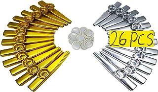 Fartime 26Pcs Metal Gold And Silver Kazoos With 20Pcs Kazoo