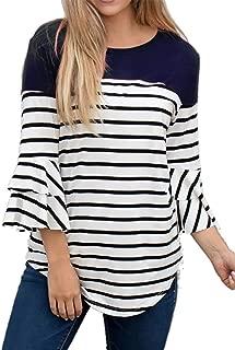 YUNAR Ladies Nursing Maternity Striped Flounce Sleeve T-Shirt