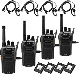 Caroger Rechargeable Walkie Talkies Business Two Way Radio Long Range FRS 462MHz 16 Channels Black (4 Packs)