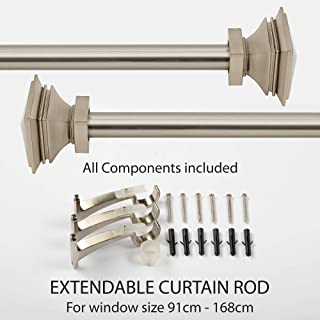 Deco Window 1 Inch Adjustable Satin Silver Curtain Rod for Windows Curtains with Square Finials & Brackets Set - 36