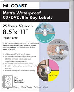 Milcoast Matte Waterproof Tear Resistant White Blank DIY Adhesive CD/DVD/Blu-ray Disc Labels - for Laser/Inkjet Printers - 50 Label Sets (25 Sheets)
