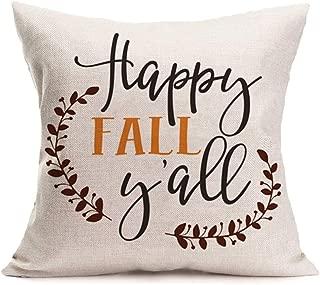 Royalours Throw Pillow Covers Pumpkin Spice Halloween Cushion Case 18 x 18 Inch Cotton Linen Autumn Fall Home Office Decor (Happy Fall Y'all)